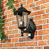 Rustikale Wandleuchte in schwarz inkl. 1x 12W E27 LED 230V Wandlampe aus Aluminium & Glas einstellbar für Garten/Terrasse Garten Terrasse Lampe Leuchten Beleuchtung außen