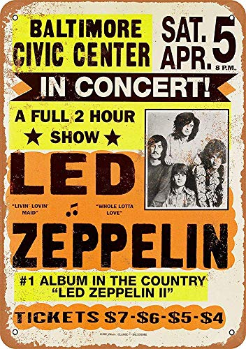 Led Zeppelin at Baltimore Civic Center Blechschilder, Metall Poster, Retro Warnschild Schilder Blech Blechschild Malerei Wanddekoration Bar Geschäft Cafe Garage