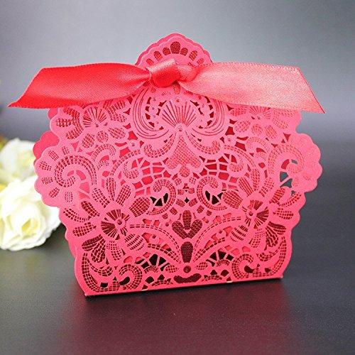 50 pezzi scatole portaconfetti tagliato laser con effetto bronzing lucidezza nastro raso compreso (rosso)