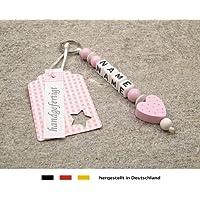 NAMENSANHÄNGER – Anhänger mit Namen | Baby Kinder Schlüsselanhänger für Wickeltasche, Kindergartentasche, Schultasche oder Rucksack mit Schlüsselring | Mädchen Motiv Herz in rosa