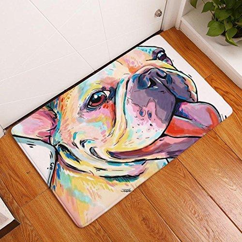 Eazyhurry Colorful Puppy Hund Print Rechteck dünn Fußmatte Pet Puppy Hund Bedruckt Coral Fleece Home Decor Teppich Küche Boden Läufer Fußmatte Indoor Outdoor Bereich Teppich 40,6x 61cm -