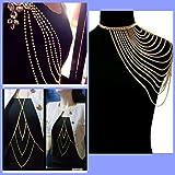 Shree KRISHN Communication Women's Shoulder Chain Necklace Body Chain Tassel Links Jewelry (Gold)