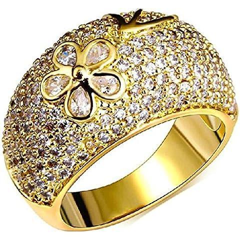 Fedi Nuziali Donna Placcato Oro Zirconia Cubicia Cz Foglia E Forma Flower Di (22k Oro Cuore)