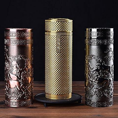Tazza Nizza Salute Coppa d'argento, argento puro interni, High-end tazza regalo, tè di salute, Coppa per uomini e donne ( design : Horse (brass Color) )