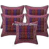 Stylo Kultur Ethnische Kissen Abdeckungen Lila Brokat Jacquard Paisley Couch Kissenbezüge Platz Traditionelle Geometrische 40x40 cm Kissenbezüge (Set von 5 Stück)