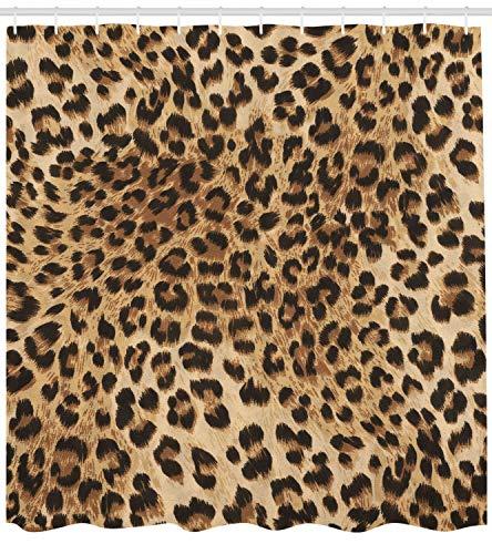 Ambesonne Leopard Print Duschvorhang, Hautmuster eines Wilden afrikanischen Safari-Tiers, kraftvolle Panthera große Katze, Stoffstoff Badezimmer Decor Set mit Haken, 75