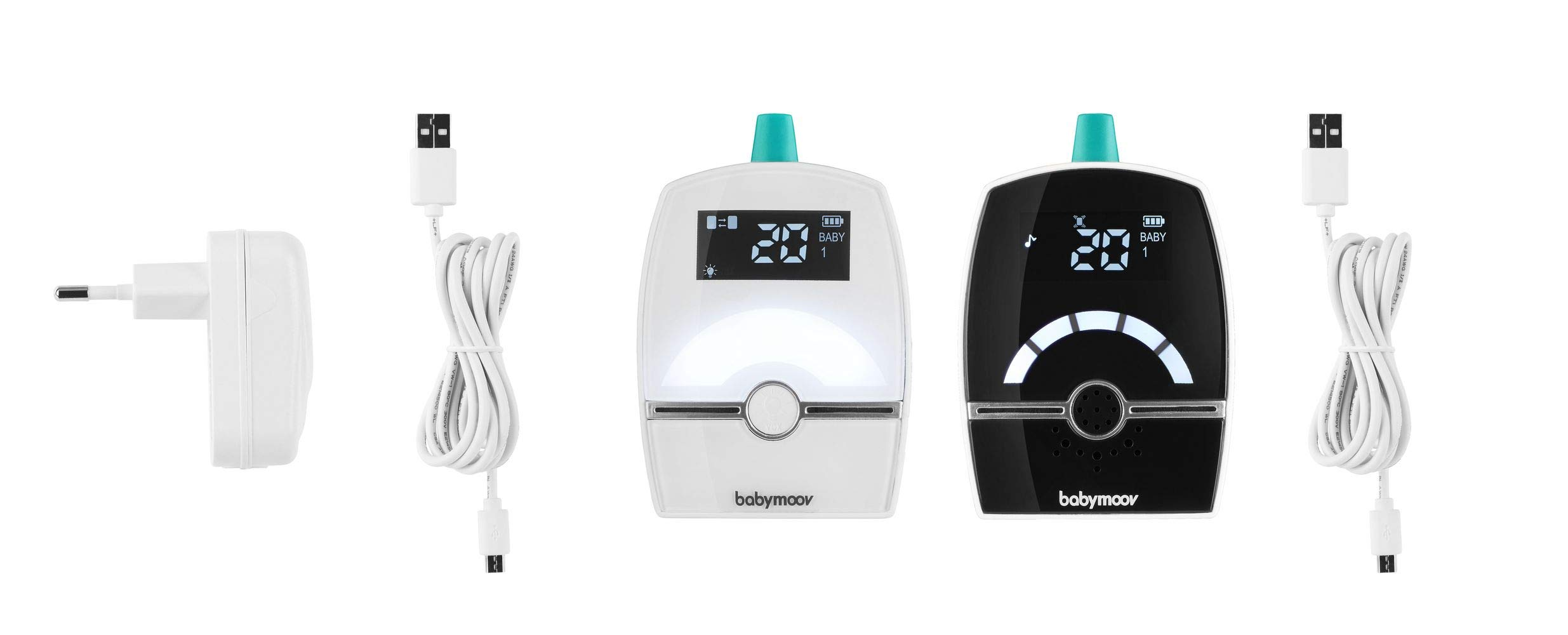 BABYMOOV Premium Care Audio Baby Monitor, 1400 m BABYMOOV Digital green technology: this innovation reduces wave emissions from your baby monitor and guarantees the longest range on the market. premium care has a 1400m range: ideal for a house Complete: this baby monitor has a 3-alert vex mode (visual, audio, or vibration) and an out-of-range/ low battery alarm. you can connect two transmitters to monitor two children! Night light, lullabies, and temperature: premium care emits a soft light and plays lullabies. the temperature indicator enables you to monitor the temperature in the baby's room 7