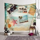 QCWN Set Retro, Sommer Urlaub, das an der Wand Meer Strand Palme Coconut Baum-Minivan Set Heimdekoration Kunst-Set, Poly