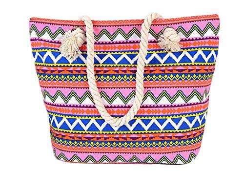 5 All Strandtasche Shopper Damen Aufdruck viele Muster Geometrie Groß XL