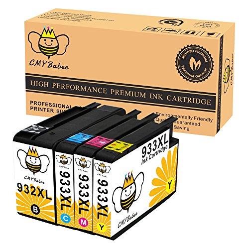 Preisvergleich Produktbild CMYBabee 4-Pack Ersatz für HP 932XL 933XL 932 933 Hohe Kapazität Tintenpatronen (1 Schwarz, 1 Blau, 1 Rot, 1 Gelb) mit neuem Chip Kompatibel für Officejet 6700 6600 6100 7110 7610 7612 Drucker