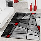 ALFOMBRAS Salón PHC Alfombra Porto en gris rojo negro Liquidación, 160 x 230 cm