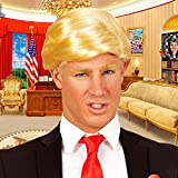Amakando Herrenperücke Präsident Trump Toupet Blonde Karnevalsperücke Schlagerstar Faschingsperücke blond Kurzhaarperücke Herren Donald Trump Perücke