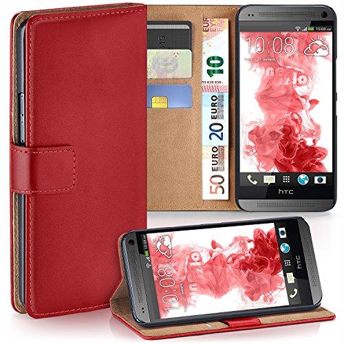 moex HTC One Mini | Hülle Rot mit Karten-Fach 360° Book Klapp-Hülle Handytasche Kunst-Leder Handyhülle für HTC One Mini M4 Case Flip Cover Schutzhülle Tasche