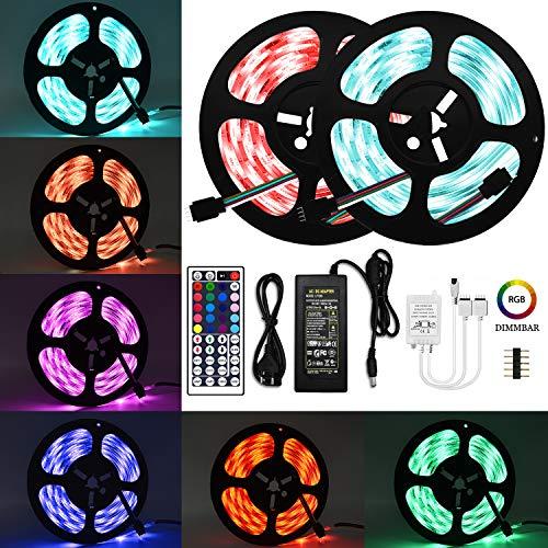 Wlife LED Strip, 10M Wasserdicht Streifen, 300 SMD 5050 LED RGB Strips, IP65 Wasserdicht flexibles Selbstklebend einstellbarer Farben LED Lichtband und 44 Tasten Fernbedienung, [Energieklasse A ++] - 12 Computer-netzkabel