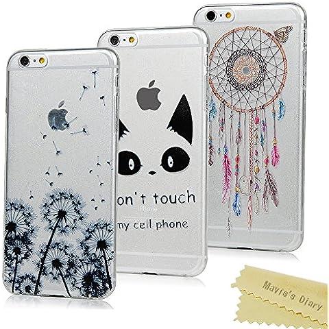3x iPhone 6 Plus / 6s Plus Funda Silicona de Gel TPU Case Suave - Mavis's Diary Funda para móvil iPhone 6 Plus/6s Plus 5,5 pulgadas Carcasa Resistente a los Arañazos Diseño de Diente de león,orejas