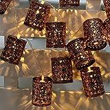 Lixada 2.1m Retro Metall Eisen hohlen Käfig String Licht.(Warm Weiß)