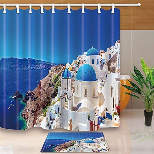 Europäischen City Decor Santorini Griechenland Scenery weiß stone Palace 180x 180cm Polyester-Schimmelresistent-Duschvorhang Anzug mit 60x 40cm Flanell rutschfeste Boden Fußmatte Bad Teppiche