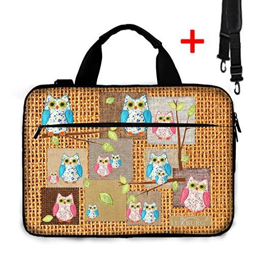 Luxburg® Design Gepolsterte Business- / Laptoptasche Notebooktasche bis 17,3 Zoll mit Schultergurt, Mehrzwecktasche, Motiv: Eule
