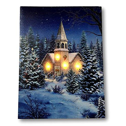 Banberry Designs Leinwandbild mit Weihnachtsmotiv Kirche bei Nacht, mit LED-Lichtern, Motiv Winter (Strahlende Kirche)