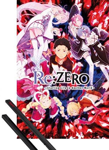 Foto de 1art1® Póster + Soporte: Re:Zero Anime Kara Hajimeru Isekai Seikatsu Póster (91x61 cm) Key Art Y 1 Lote De 2 Varillas Negras