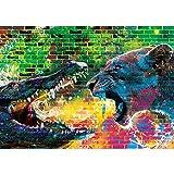 Vlies Fototapete PREMIUM PLUS Wand Foto Tapete Wand Bild Vliestapete - Steinwand Steine Graffiti Tiere Krokodil Löwe Zähne Gebiss Wasser - no. 1918, Größe:254x184cm Vlies