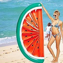 Mystery&Melody Giant Half Watermelon Pool Float Inflable Piscina al Aire Libre Flotador Balsa Lounger Flotante Salón de Juguetes para Adultos Niños (Watermelon Float)