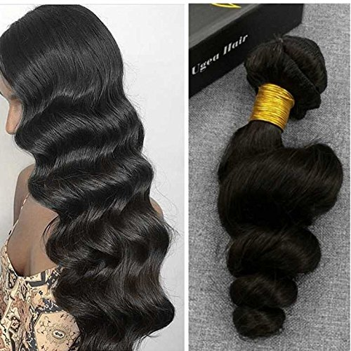 Ugeat 120g 45cm Gelockte Haare Loose Wave Tressen Echthaar Schwarz Haarverlangerung Echthaar Clips In Human Hair Extensions Off Black #1B (Human Hair Extensions Gewellt)