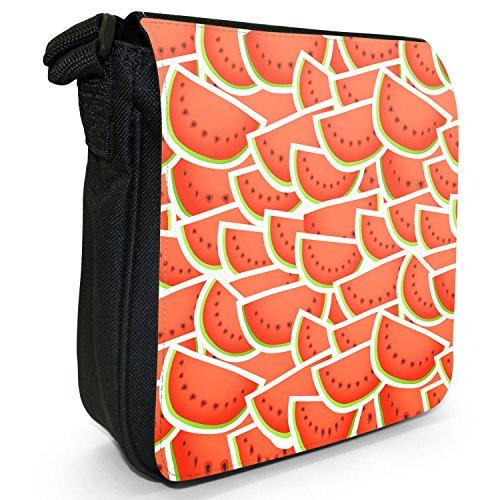 Graphical frutta-Borsa a tracolla in tela, piccola, colore: nero, taglia: S Nero (Watermelon Fruit)