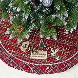 Leeko Weihnachtsbaumdecken, Weihnachtsbaum Rock Dekoration, Schutz vor Tannennadeln Weihnachtsbaumdecke Rund für Weihnachten (Rot) -