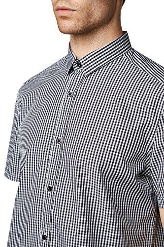 next Herren Hemd Mit Vichykaros Normale Passform Karohemd Freizeithemd Shirt Schwarz
