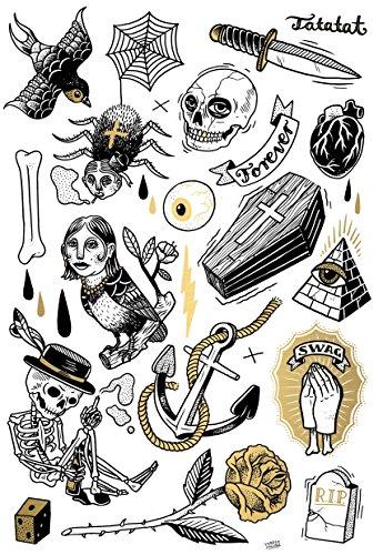 tlabel aus Berlin Temporäre Tattoos #001 Classics by M.Krusche Tätowierungsaufkleber Tattoo Tat Damen Herren Körperkunst Aufkleber ()