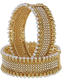 Royal Bling Traditional Jewellery Gold Plated Pearl Bangles For Women & Girls