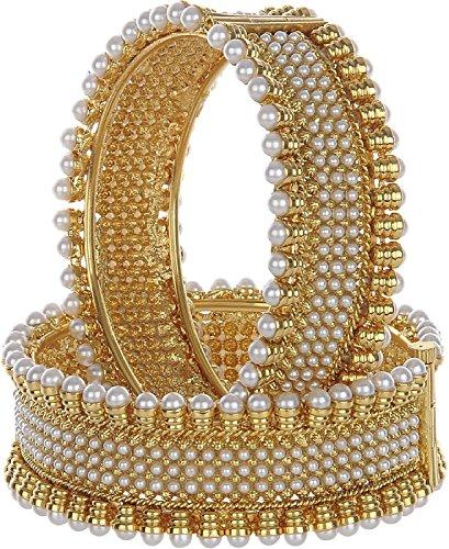 Zeneme Gold Plated Brass Bangle Set For Women (2.4)