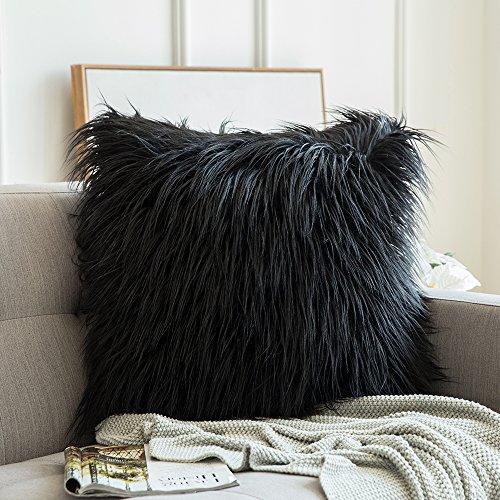 MIULEE Soft Solid Dekorative Quadrat Pelz Throw Kissenbezüge Set Kissen Fall für Sofa Schlafzimmer Auto 24x24 Inch 60x60 cm Schwarz