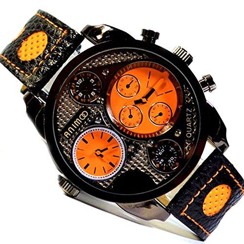 Animoo XXL Herren Armbanduhr Schwarz Orange 2 Zeit /-Uhrwerk Herrenuhr Dual Time