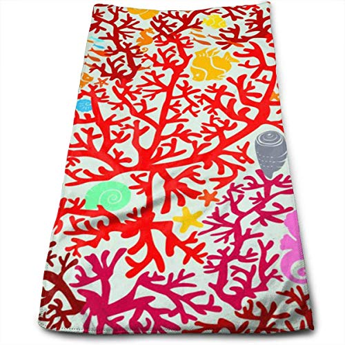 ERCGY Coral Reefs and Marine Life Soft Polyester Large Hand Towel- Multipurpose Bathroom Towels for Hand, Face, Gym and Spa