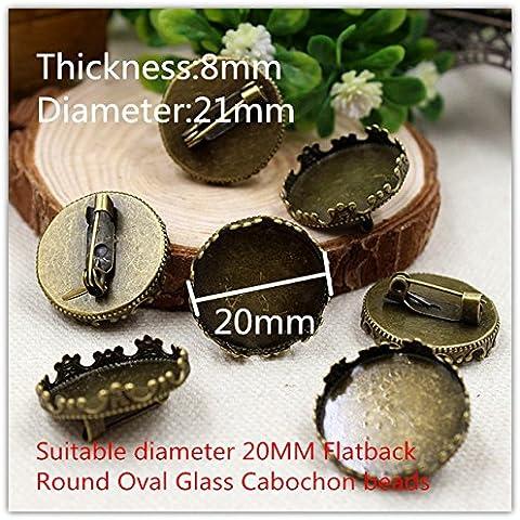 Nuovo 15510138, bronzo antico pin distintivo bianco, l'impostazione di base in lega di cabochon fiore, cammeo della resina, vassoio di vetro 8 * 21mm (FIT 20 millimetri Dia) 10 pz - Bronzo Antico Di Figure