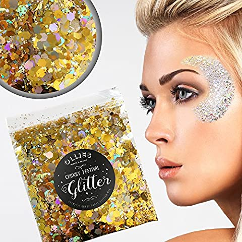 30g Chunky Festival Cosmetic Glitter With Holographic And Iridescent Mixed Loose Flakes For Face Skin Body Hair Lips Nails Decoration Multi Colour Funky Mixes