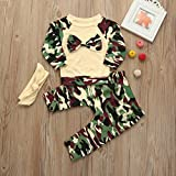 LuckyBB Newborn Toddler Baby Girls Boys Camouflage Bow Tops + Pants + Headbands Outfits Set Clothes