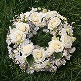 FRI-Collection Grabschmuck Trauerkranz mit weißen Rosen 48 cm