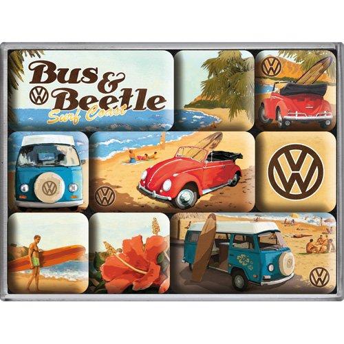 Nostalgic-Art 83053 Volkswagen - VW Bulli & Beetle - Beach, Magnet-Set (9teilig)
