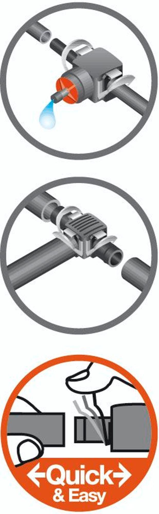 Gardena Micro-Drip-System T-Stück für Sprühdüsen, 4.6 mm (3/16 Zoll): Rohrverbindung für definierte Fixierung der…