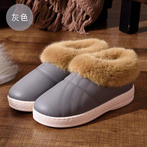 Pelle home DogHaccd pantofole pantofole uomini di slittamento cotone con pu le pantofole donne coppie caldo anti e Impermeabili Grigio2 spesso soggiorno inverno pacchetto invernale 7q5rwAq