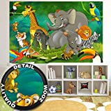 Fototapete Kinderzimmer Dschungel Tiere Wandbild Dekoration Jungle Animales Zoo Natur Safari Adventure Tiger Löwe Elefant Affe Foto-Tapete Wandtapete Fotoposter Wanddeko by GREAT ART (210x140 cm)
