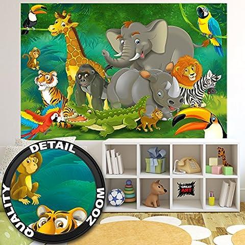 Jungle animals photo wall paper – jungle and animals mural – XXL jungle wall decoration nursery 82.7 Inch x 55