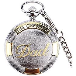 "THE GREATEST DAD Retro Polished Silver & Gold Finish Case Men's Quartz Pocket Watch Necklace - On 32"" Inch / 80cm Chain"