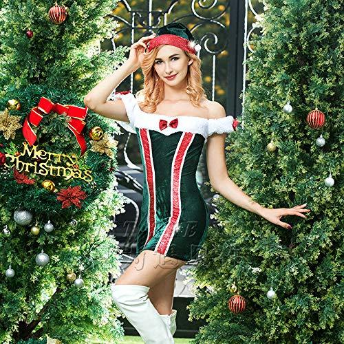 Frauen Kostüm Claus Mrs - HJG Frauen Santa Kostüm, Sexy Christmas Candy Cane Kleid, Liebsten Mrs. Claus Kostüm