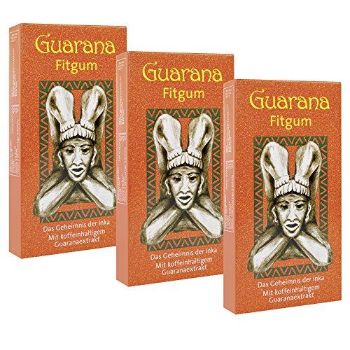 BADERs Guarana Fitgum aus der Apotheke. Kaugummi für mehr Energie mit Guarana Koffein. Kauen unterstützt Konzentration und Leistung. Zuckerfrei, mit Xylit. Vorteilspackung 3 x 24 Kaugummis im Blister. Pharmazentralnummer: 08529013 (Energie Kaugummi Xylit)