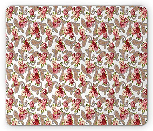 Country Mouse Pad, Paisley Pattern and Roses in Vintage Country Design Floral Style Print, Standard Size Rectangle Non-Slip Rubber Mousepad, Pink Red Purple White Paisley-rosen