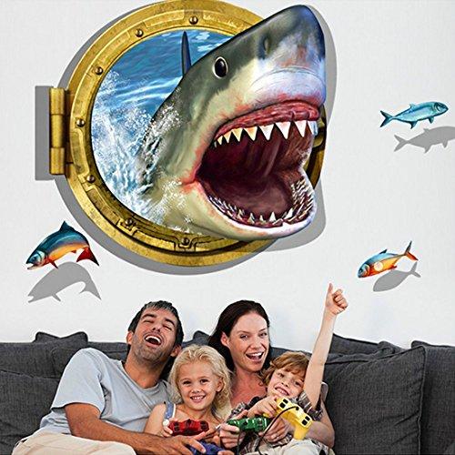 3d stile squalo pesci-Adesivo da parete Casa Decalcomania da parete in vinile rimovibile in PVC camera da letto soggiorno Art Picture Murals fai da te Stick impermeabile per adulti Teens childres Kids Nursery Baby + rana 3d adesivo per